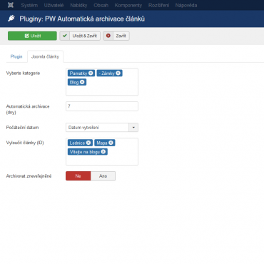 Automatic archiving of articles in the Joomla 3.x administration.
